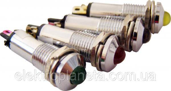 Сигнальная лампа (арматура) металлическая AD22B-8 желтая 220V AC
