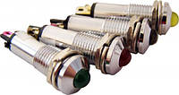 Сигнальная лампа (арматура) металлическая AD22B-8  зеленая 24V AC/DC