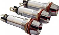 Сигнальная лампа (арматура) металлическая AD22C-8  желтая 24V AC/DC