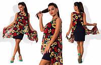 Женское платье с шифоновой накидкой в расцветках ОМ017