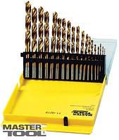 Набор сверл для металла, 19 шт HSS титан(1-10 мм, шаг 0,5 мм) в пластиковой коробке Mastertool (11-0219)