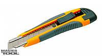 Нож 18 мм TPR покрытие с металлической направляющей кнопочный фиксатор + 2 лезвия