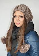 Шапка-капюшон с помпонами коричневая