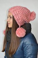 Шапка-капюшон с помпонами розовая