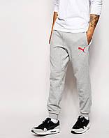 Мужские спортивные штаны  Puma   Пума серые значёк красный
