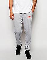 Cпортивные штаны New Balance серые лого красный