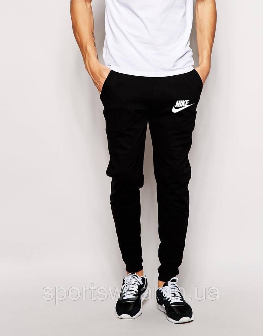 153f7194 Мужские спортивные штаны Nike | Найк чёрные имя+галочка белый принт