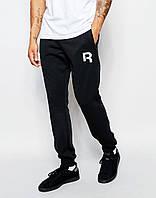 Cпортивные штаны Reebok / Рибок чёрные лого белое R