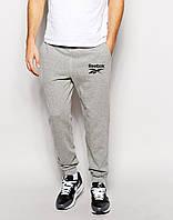 Cпортивные штаны Reebok / Рибок серые чёрный лого
