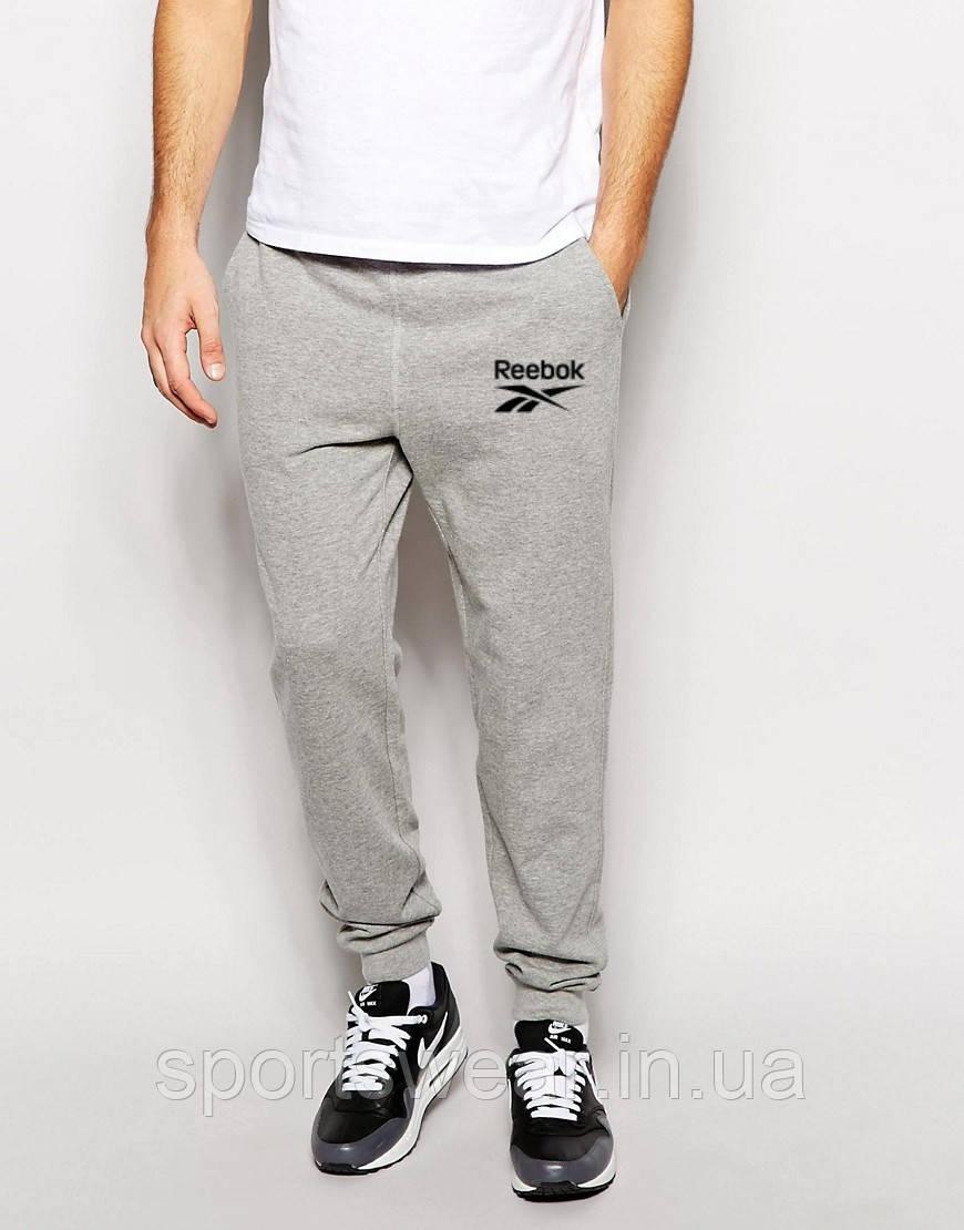 Мужские спортивные штаны Reebok   Рибок серые чёрный лого