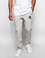 Cпортивные штаны Reebok / Рибок серые лого чёрное R