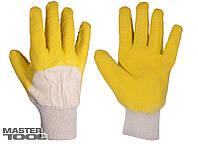"""Перчатки стекольщика х/б ткань с латексным ребристым покрытием (желтые), 10,5"""", 90-92 г"""