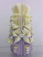 Свеча резная большая SRXL - 07 (Цвет фиолетовый с айвори)