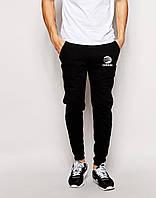 Cпортивные штаны Adidas чёрные лого+имя белое