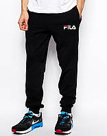 Cпортивные штаны FILA чёрные белый принт