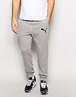Мужские спортивные штаны  Puma | Пума серые значёк чёрный