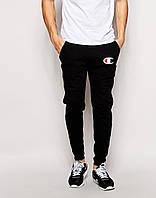 Мужские спортивные штаны Champion | Чемпион  чёрные лого