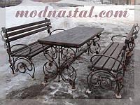 Набор садовой кованой мебели: стол + 2 лавки (MD-NS-001)