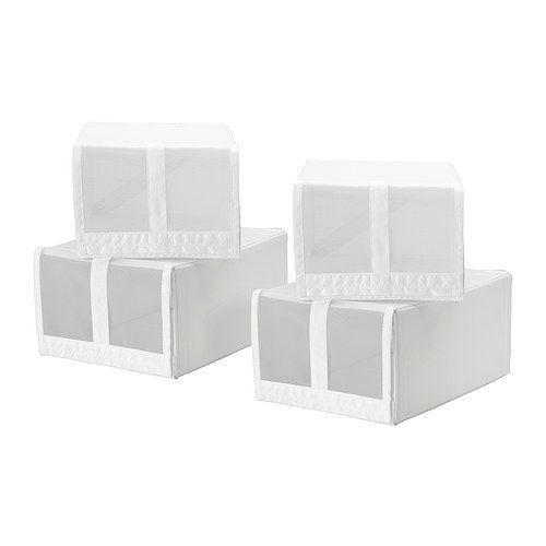 СКУББ Коробка для обуви, белый (4шт)
