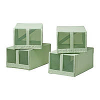 """ИКЕА """"СКУББ"""" Коробка для обуви, светло-зеленый 4шт."""