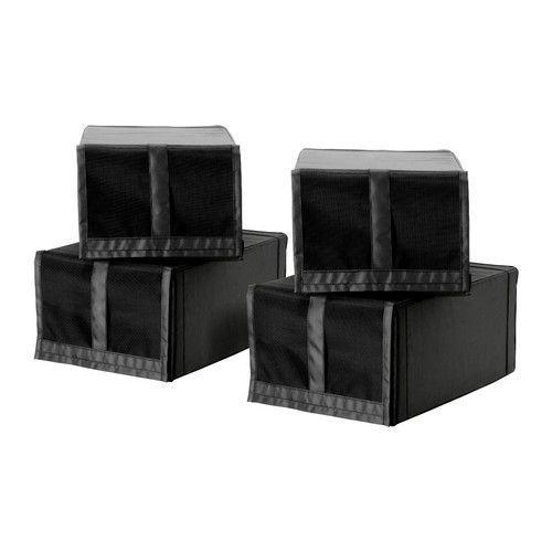 СКУББ Коробка для обуви, черный (4шт)