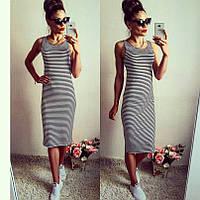 Женское длинное платье в полоску без рукав