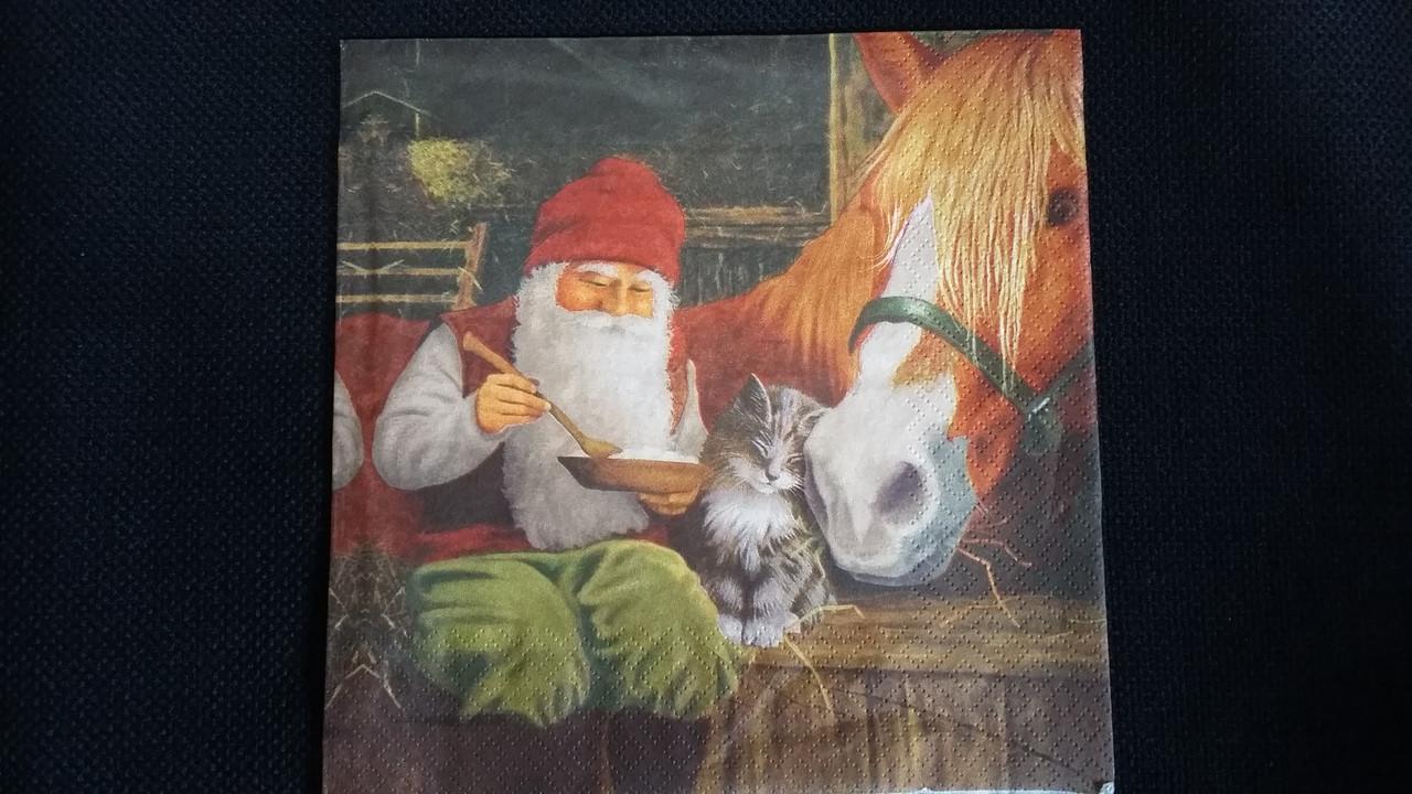 """Салфетки для декупажа  """"Дед Мороз"""" 33х33 см, 10"""