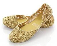Женские силиконовые балетки золотого цвета