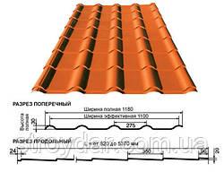 Металлочерепица Pruszynski Прушински Крон 0,5 Матовый полиэстер