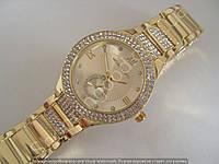 Часы Skmei F253 (110904) женские золотистые на металлическом браслете в стразах копия, фото 1