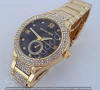 Часы Michael Kors F253 (110904) женские золотого цвета циферблат антрацит на металлическом браслете в стразах