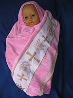 Крыжма «Пинк бейби». Крещение ребенка. Полотенце на крещение