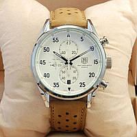 Мужские кварцевые наручные часы хронограф Tag Heuer Space X 1887 Chronograph на кожаном ремешке