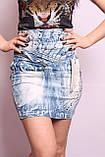 Женская джинсовая юбка с высокой талией, фото 2