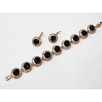 Набор украшений серьги и браслетик с роскошными темно-зелеными кристаллами в миниатюрных стразах