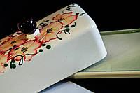Масленка керамическая с красивыми цветами