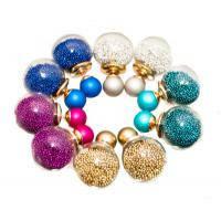 Двойные серьги-шарики Mise еn Dior с оригинальным наполнением из цветного бисера
