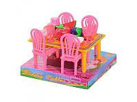 Столовая 967 стол, 4 стула, посуда, фрукты, в слюде