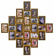 Деревянная мультирамка Ромб двойное золото на 25 фото