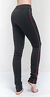 Лосины для бега женские, черный с красным