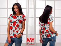 Блузка  Натуральная штапельная яркие розы