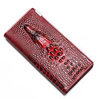 """Кожаный женский кошелёк натуральная кожа """"CROCODILE"""" ALLIGATOR.клатч,бумажник.портмоне Красный С чёрным"""
