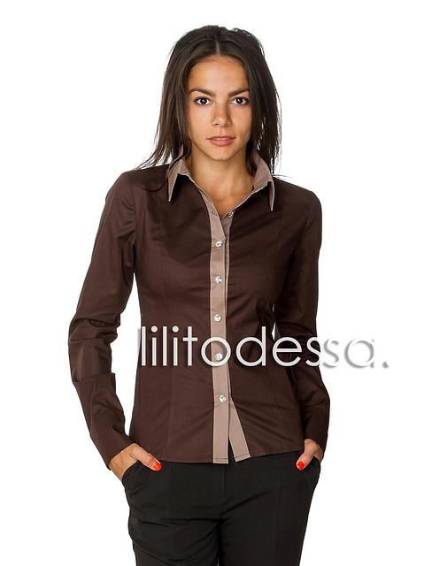 Рубашка комбинированная коричневый