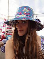 Джинсовая шляпа голубая в ромашки, фото 1