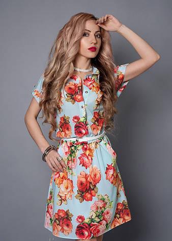 Красиве жіноче літнє плаття-сорочка з принтом троянд, фото 2