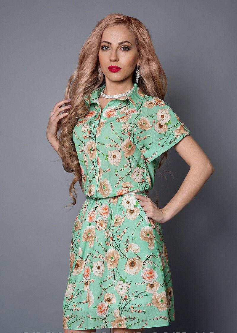Стильное женское летнее бирюзовое платье-рубашка