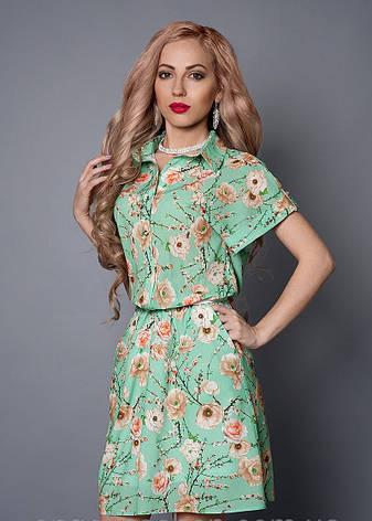Стильное женское летнее бирюзовое платье-рубашка, фото 2