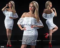 Платье-мини из гипюра с открытыми плечами