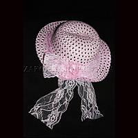 Детская шляпа с кружевом и розочкой, розовая, 1 штука