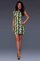 """Короткое облегающее платье без рукавов """"Lemon"""" с принтом лимонов (2 цвета)"""